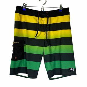Rusty Board Surf Swim Multicolor Shorts 32